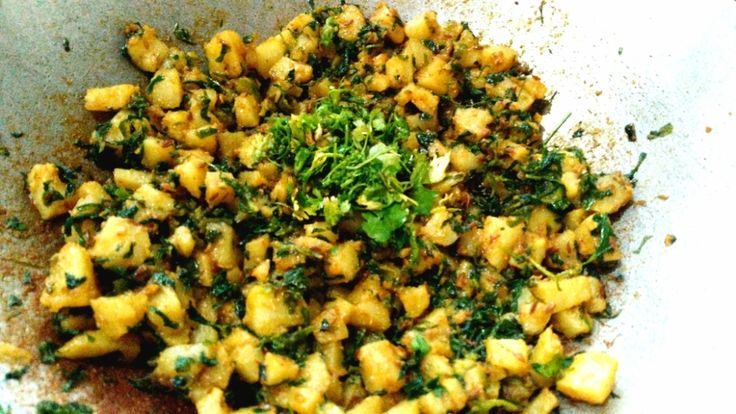 Aloo Methi Recipe is a dish of fried methi or fenugreek leaves and potatoes.The Potatoes and Methi are fried in butter and spiced with garam masala.