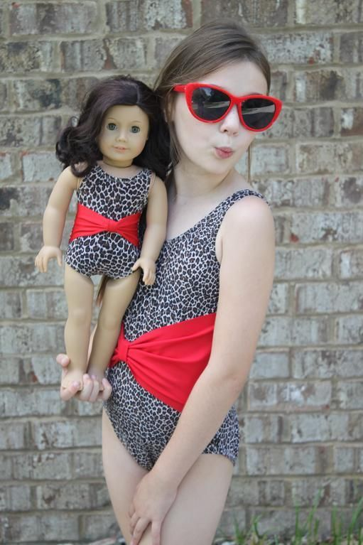 "Bow-a-licious Swimsuit for Dolly / 15"" and 18"" /  (ColesCreations) $3.95"