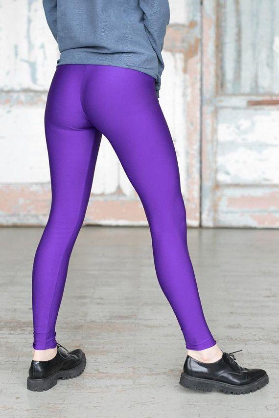 ded3e6f11706a4 Neon Violet, Red Leggings, Glossy,Glittery, Wide Waistband Leggings,  Handmade Leggings, Yoga pants, #yogapants