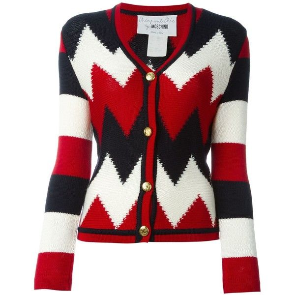 Moschino Vintage Zig Zag Knit Cardigan ($225) ❤ liked on Polyvore featuring tops, cardigans, black, button front tops, v-neck tops, v neck knit top, v neck cardigan and v neck long sleeve top