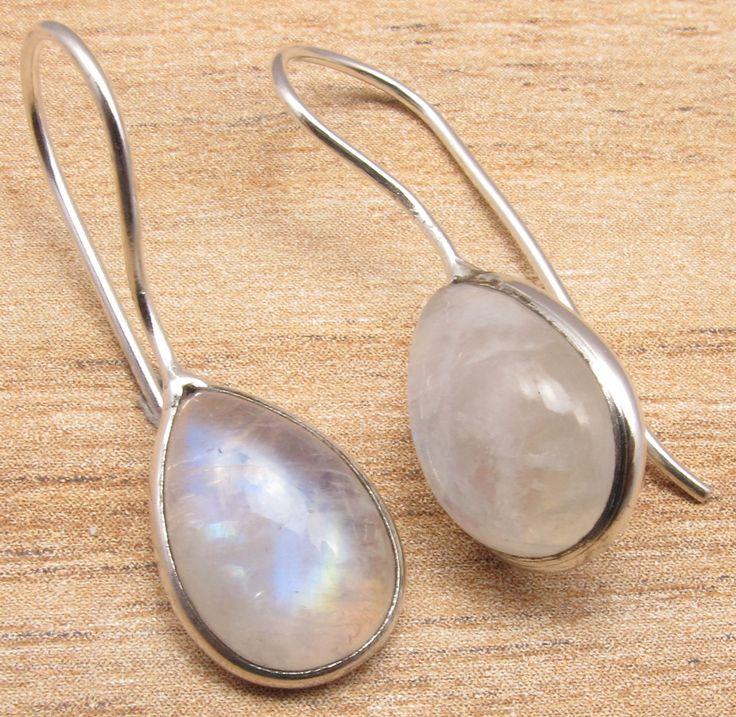 Silver Overlay Real Blue Fire RAINBOW MOONSTONE ART Earrings FASHION EDH