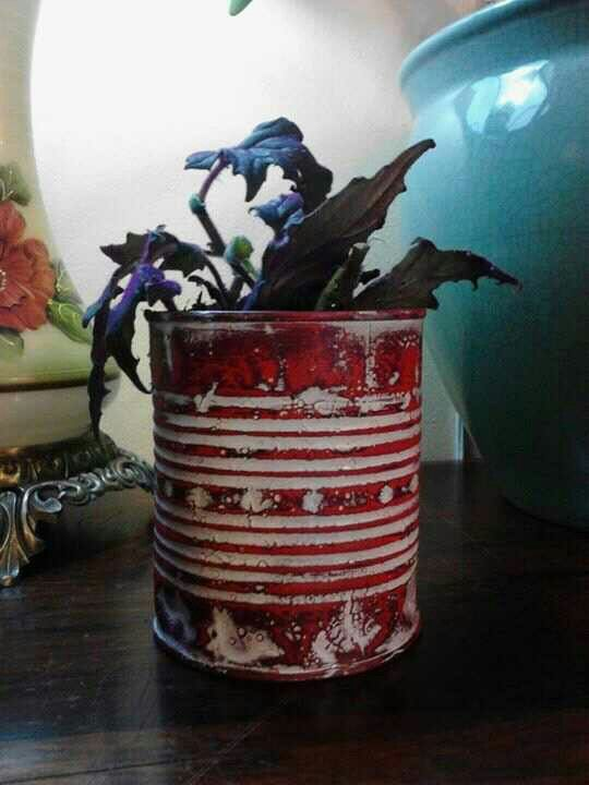 Poor man tin can flower pot. Clean and paint tin can Three seperate colors. Sand with a fine sand paper to show paint colors. Than seal with varnish. I wiped it on with a cloth. Soo cute....