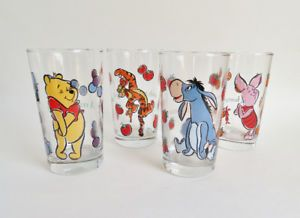 Winnie the Pooh Glasses Glasses Set of 4 Anchor Hocking