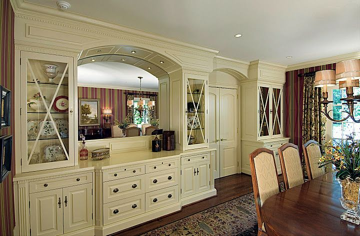 built in for dining room | built-ins in this English country house. I like the flow of the built ...