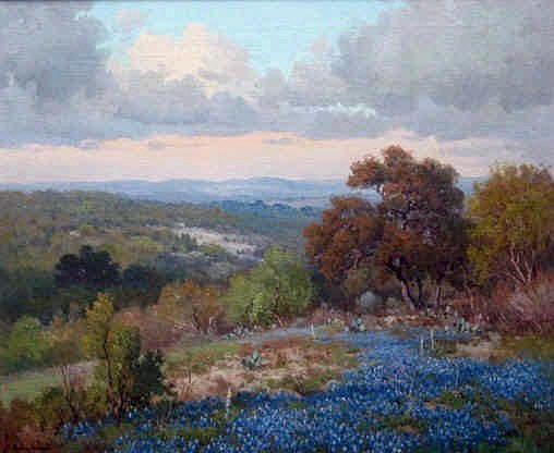 Porfirio Salinas Texas Blue Bonnets Oil Paintings For Sale