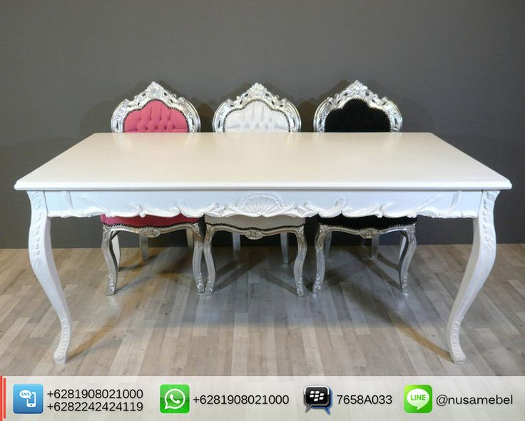 Mahogany Dining #Table and #Chairs Nurrudy. Set #MejaMakan Mahoni #Jepara Finishing Putih Duco dan Silver. #NusaMebel #Mebel #Meuble #MebelJepara #FurnitureJepara #MebelRumah #DiningFurniture #ReproductionFurniture #MejaJepara #MejaJati #KursiJati #FurnitureDesign #FurnitureInterior #InteriorDesign #Etsy #DiningTable #KursiJepara #KursiUkir