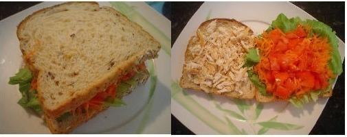 Sanduíche para uma Pele Perfeita:  Duas fatias de pão de sanduíche com colágeno – 2 colheres de sopa de cenoura ralada – 1 folha de alface lisa – 3 colheres de sopa de tomate picado – 1 bife pequeno de peito de frango desfiado – 1 colher de sopa de maionese falsa (receita abaixo).