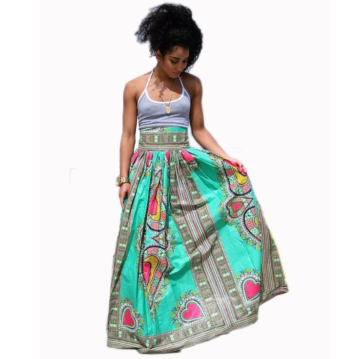 High Waist African Green Maxi Skirts