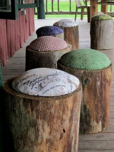 Tree trunk stools from Homemade Decor.put it on the painted bricks instead of stumps