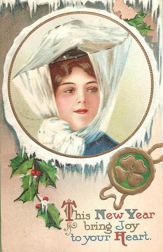 May this New Year bring joy to your heart. #vintage #New_Years #card