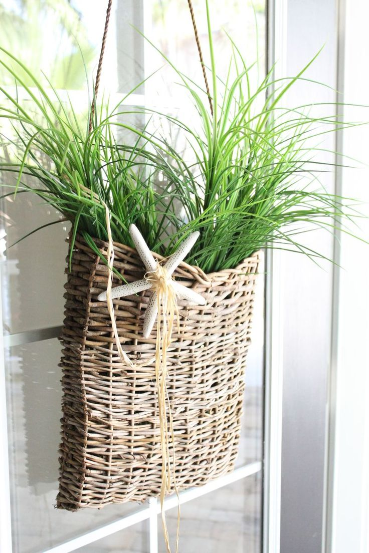 A door basket with grasses.