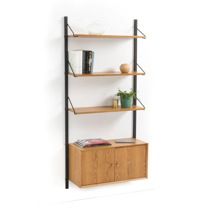 Quilda Wall Shelving Unit With 1 Cupboard Wall Shelving Units Shelves Wall Shelves