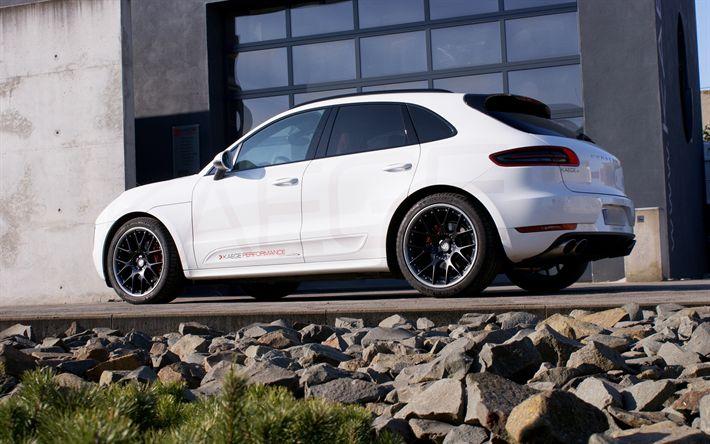 Download wallpapers Porsche Macan S, Kaege, 2017, White Macan, tuning Macan, SUV, German cars, Porsche