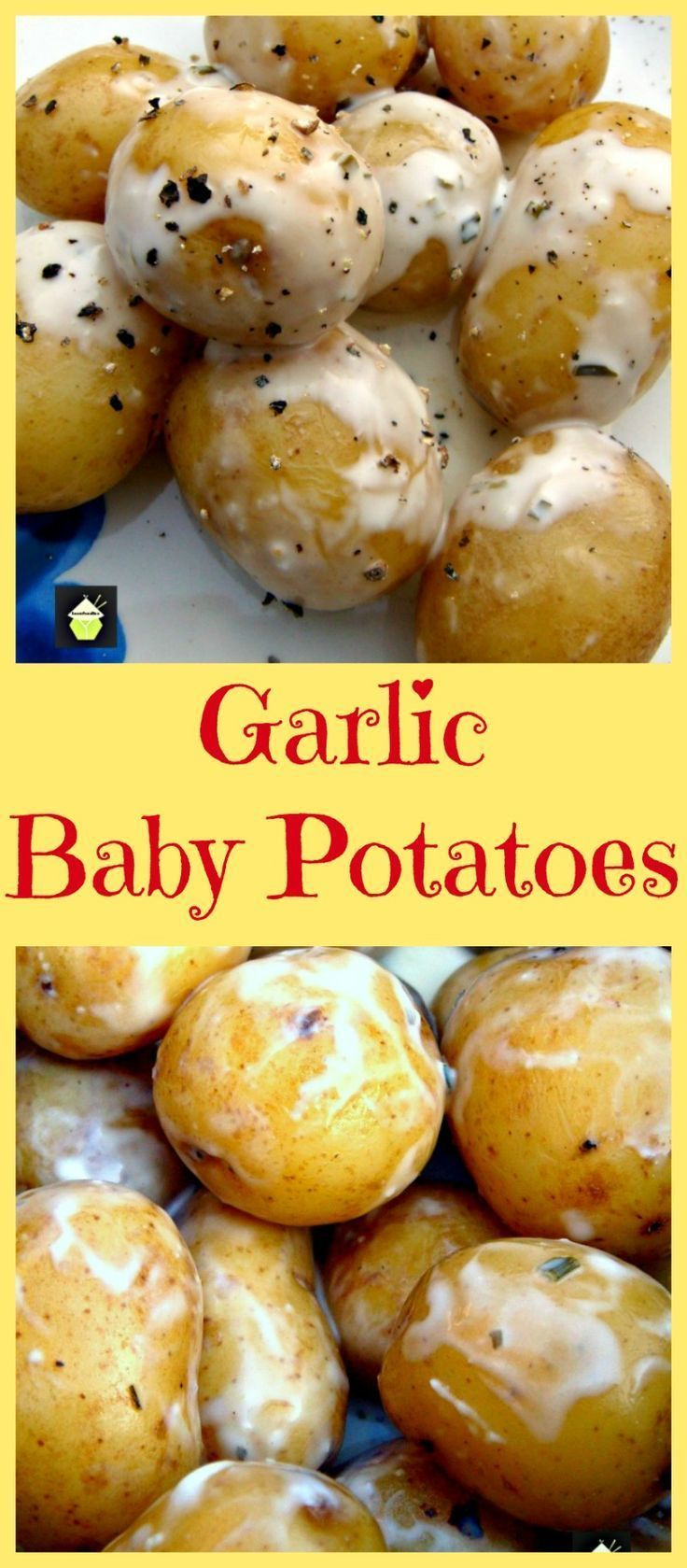 Garlic Baby Potatoes. An incredibly easy and quick recipe using tender baby potatoes, in a creamy garlic and herb coating. Delicious served warm and great for outdoor eating too!