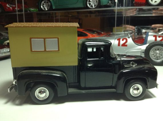 1956 Ford Camper Pickup Vintage Barn Find Antique RV Truck Diecast Metal Model Vehicle Classic On