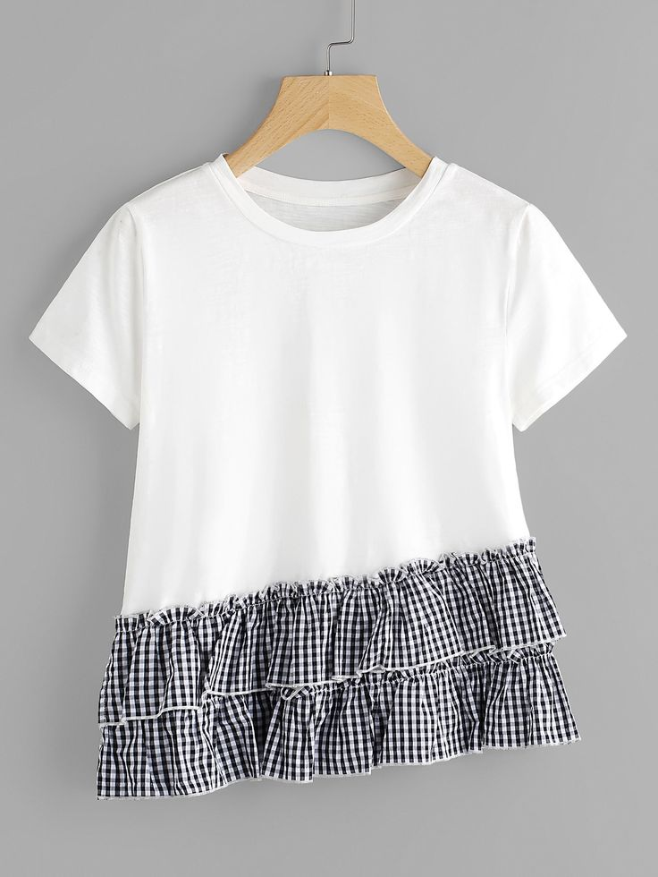 Shop Layered Gingham Ruffle Trim Slub T-shirt online. SheIn offers Layered Gingham Ruffle Trim Slub T-shirt & more to fit your fashionable needs.