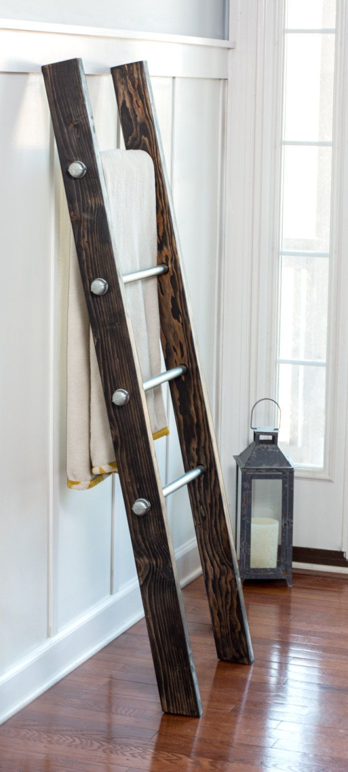 Blanket Ladder - Wood Ladder - Towel Hanger - Industrial Furniture - Quilt Display - Reclaimed Wood - Housewarming Gift - Homestead1227