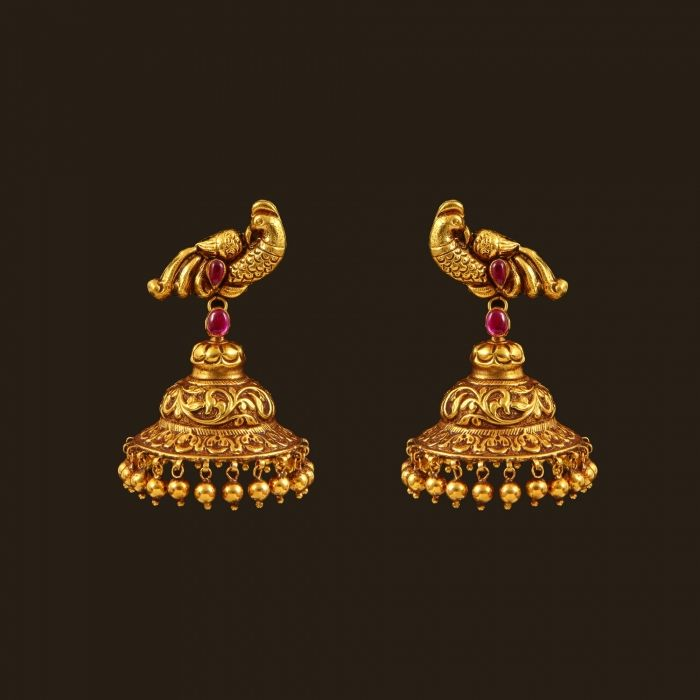 Gold Antique Peacock Earrings (108A35105) | Vummidi Bangaru Jewellers
