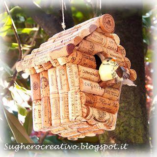 Cork Art - Sughero Creativo: CASETTA UCCELLINI PER IL GIARDINO - DIY cork bird house for garden