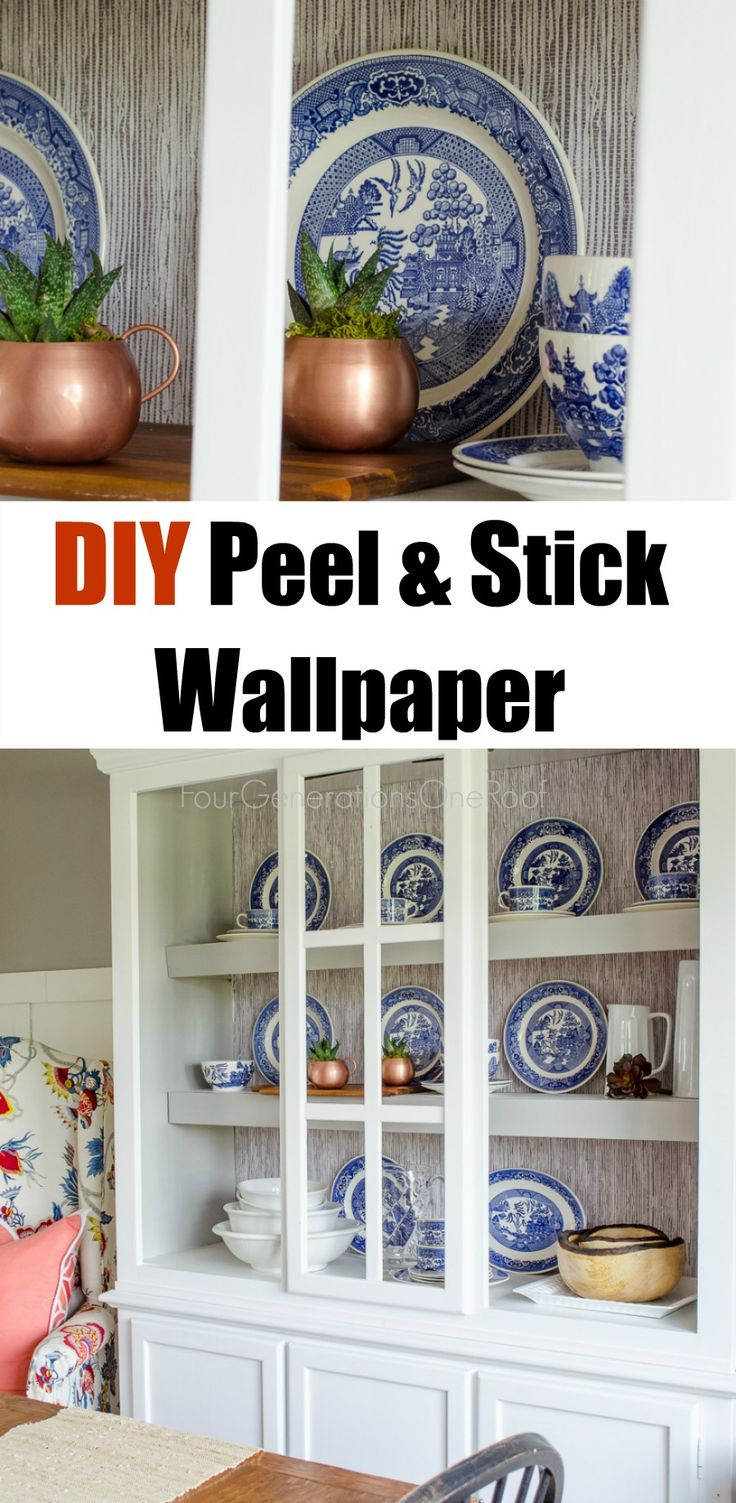 peel and stick wallpaper tutorial bookcases diy and. Black Bedroom Furniture Sets. Home Design Ideas