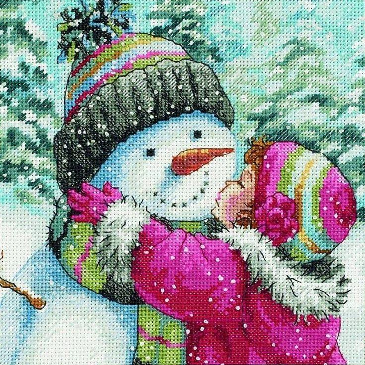 Muñeco de nieve en punto cruz. Kit de Dimensions.