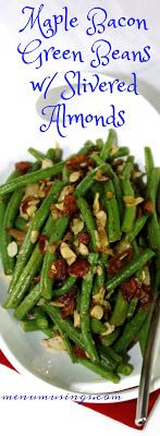 Maple Bacon Green Beans with Almonds_ Yes!  Kid friendly veggies!!  Step-by-step photos.