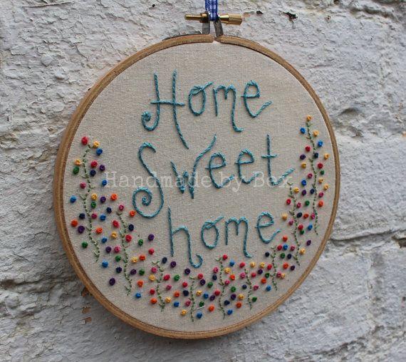 Nudos franceses de aro de bordado de Home Sweet Home                                                                                                                                                     Más