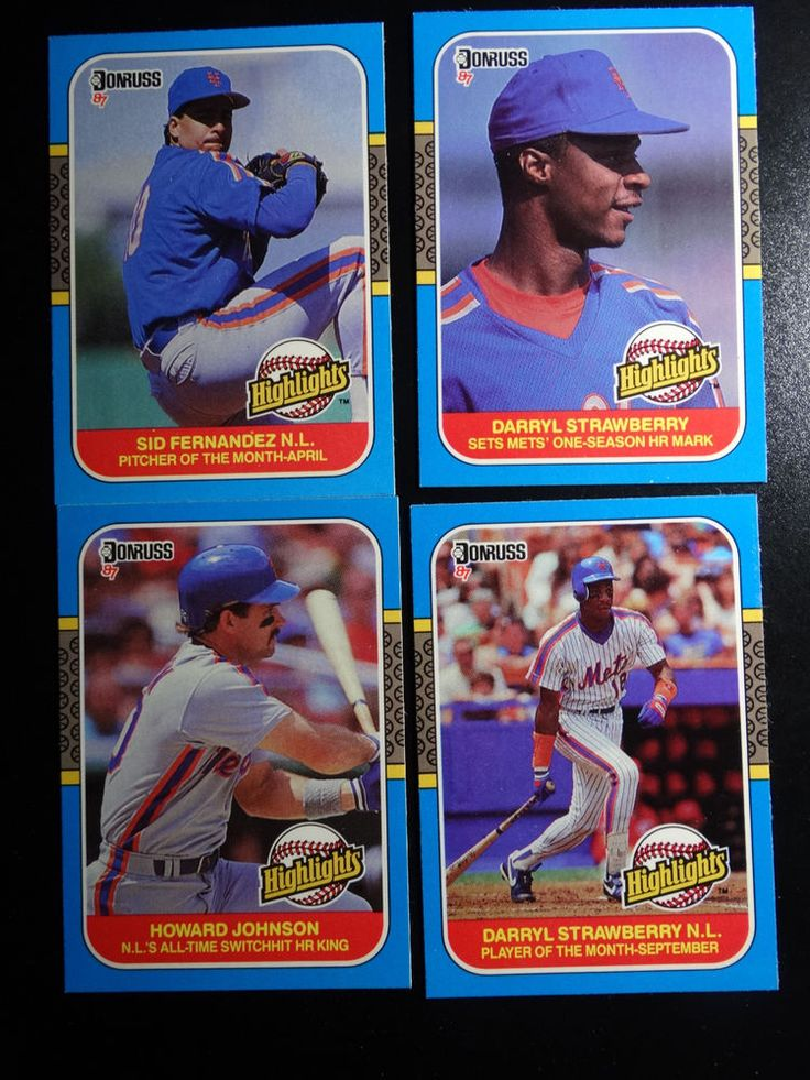 1987 Donruss Highlights New York Mets Team Set of 4 Baseball Cards #NewYorkMets