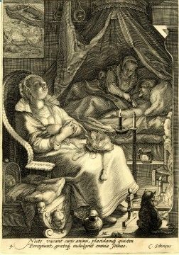 Trouble sleeping? Researcher Roger Ekirch discovered hundreds of references to segmented sleep, including this Roger Ekirch says this 1595 engraving by Jan Saenredam.