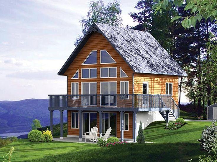 3 Bedroom Chalet Home Plan HOMEPW08062 Alpine, Log, Cabin - plan maison avec cotation
