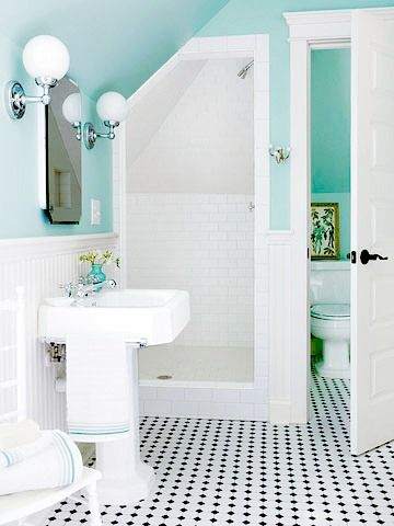 small bath no door walk in shower cottage chic style