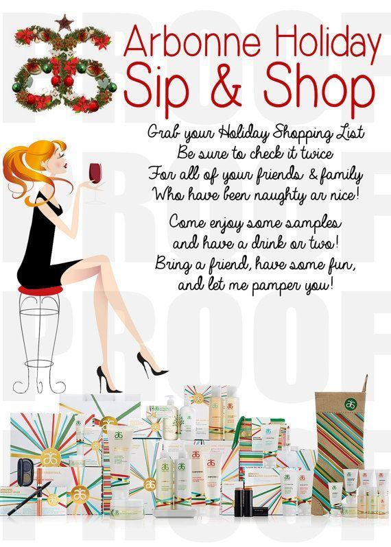Arbonne Holiday Sip and Shop Invitation DOWNLOAD | Arbonne