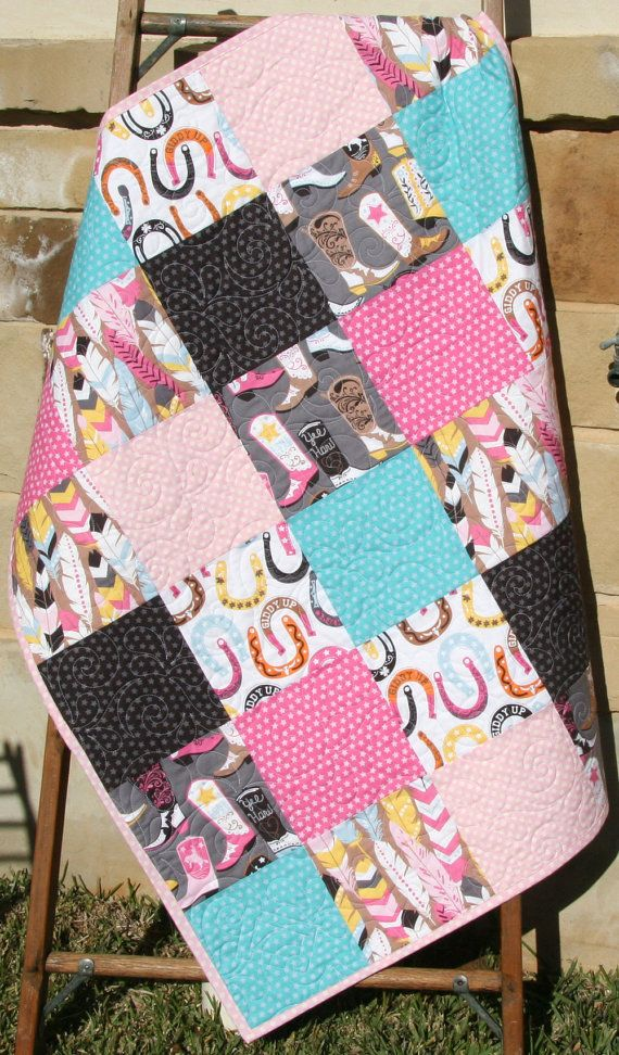 Western Baby Girl Quilt, Luckie by Blend Fabrics, Horseshoes Feathers Boots, Modern Nursery Blanket, Turquoise Pink Dark Brown, Cowgirl by SunnysideDesigns2
