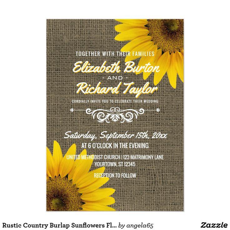 Tarjeta de bodas tema rústico girasoles