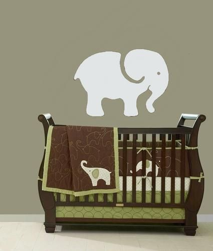 8 best images about nursery on pinterest baby nursery for Elephant wall mural
