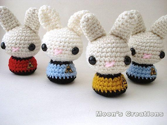 Star Trek Moon Buns - Amigurumi Star Trek inspired Bunny Rabbits with Keychain or Ornament Options