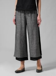 (Tall Size) Linen Double-Layer Cropped Pants Two Tone Black/Black