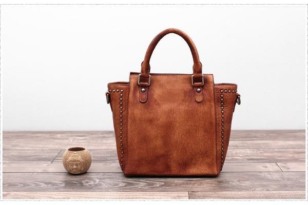 Handmade Full Grain Leather Women Tote Bag Shopping Bag Shoulder Bag  Feature: 1. Comfortable Shoulder Strap 2. Solid Quality Hardware 3.Inside zipper pocket ---------------------------------------- Measurements: Length: 22cm; Height: 23cm; Width: 12 cm; Color:Brown