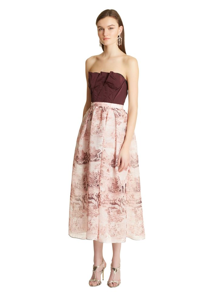 strapless fitted gown - Pink & Purple Oscar De La Renta