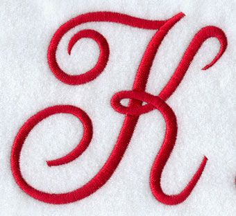 Monogram Script Letter K 4 Inch K Is For Kathy Embroidery