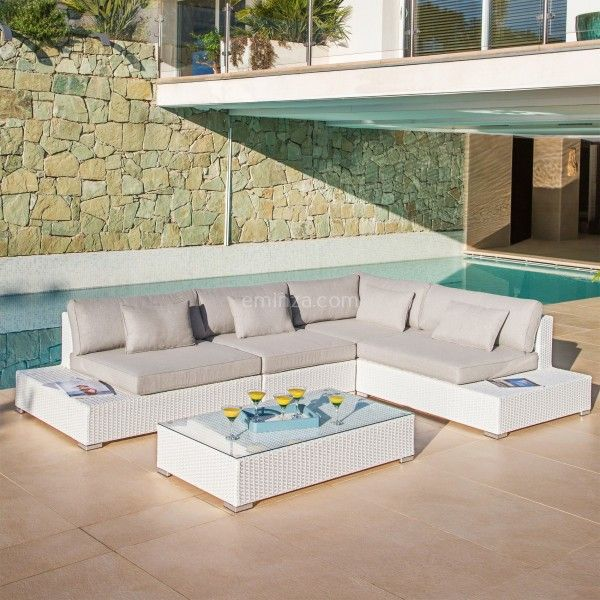 Salon de jardin bas 5 places blanc en Aluminium et Inox ...