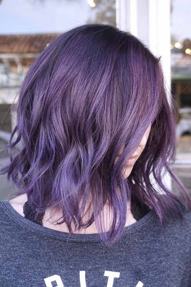 Eye-catching Purple Bob #purplehair #wavybob #darkpurple ❤️ Discover the ... - #blickfang ...