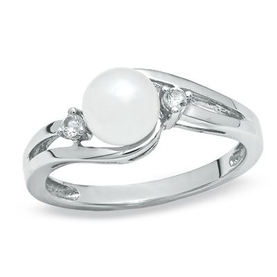 6.0mm Cultured Freshwater Pearl and White Sapphire Ring in 10K White Gold - Zales
