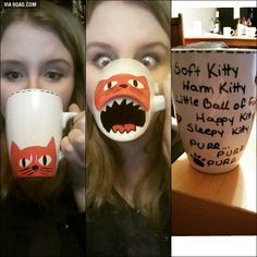 "DIY sharpie mug. She said: ""I made this with sharpie oil-based markers. Draw it. Let it dry overnight bake it for 30 min 150C and enjoy :D"""