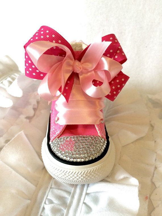 Custom made converse with heart and bows by DeChellesCreations
