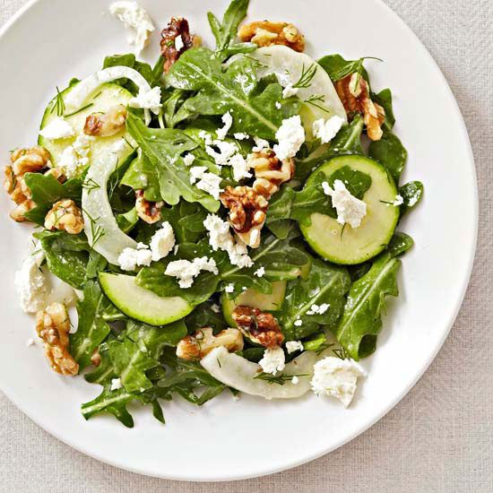 Fennel Salad with Arugula, Dill, and Walnuts. Yum! The peppery flavor of arugula is a great way to mix up your salad bowl and pack in a ton of vitamins. More summer salads: http://www.bhg.com/recipes/salads/ideas/salad-recipes-ideas/