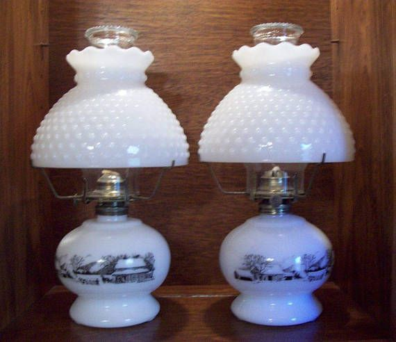 Currier Ives Oil Lamps Pair Vintage 50s From Mom S Oil Lamps Lamp Currier And Ives