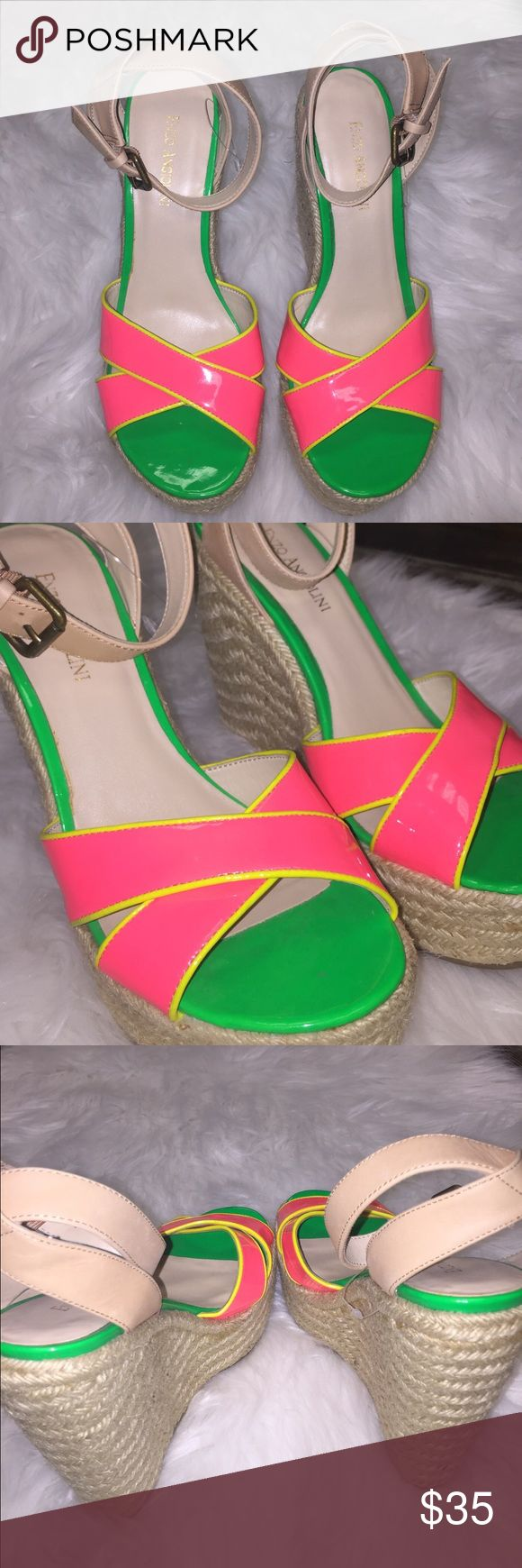 Enzo Angiolini Normas Canadian hot pink wedges 🔥 Three colored wedge- lime green, lemony yellow and hot pink, with tanned colored ankle straps! 😜🛍 Enzo Angiolini Shoes Wedges