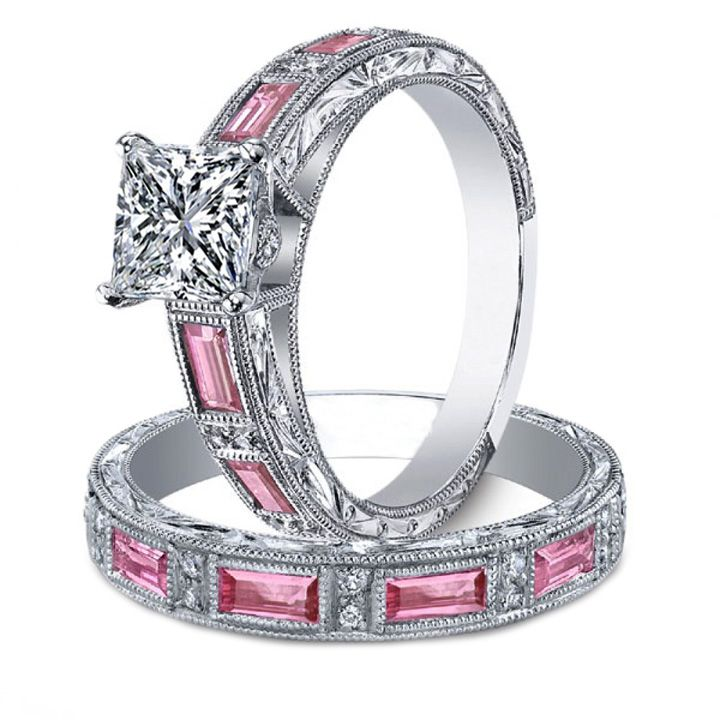 princess diamond engagement ring matching wedding band bridal set pink sapphire accents engraved vintage band