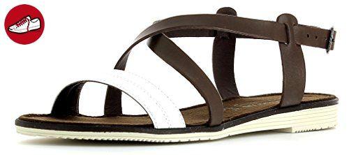 Tamaris Damenschuhe 1-1-28151-26 Damen Sandaletten Slingback Sandale Braun (MOCCA/WHITE), EU 36 - Tamaris schuhe (*Partner-Link)